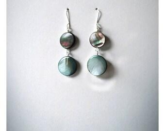 everyday earrings, teal blue, natural mother of pearl , drop earrings beaded dangle earrings