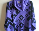 Purple and Black GEOMETRIC Shapes COWL Neck Sweater