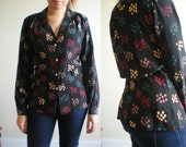 SALE! Black 100% SILK Printed Long Sleeve Blouse Shirt 70s