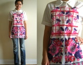 1970s Shirt Blouse Cherry and Flower Screen Print Neon