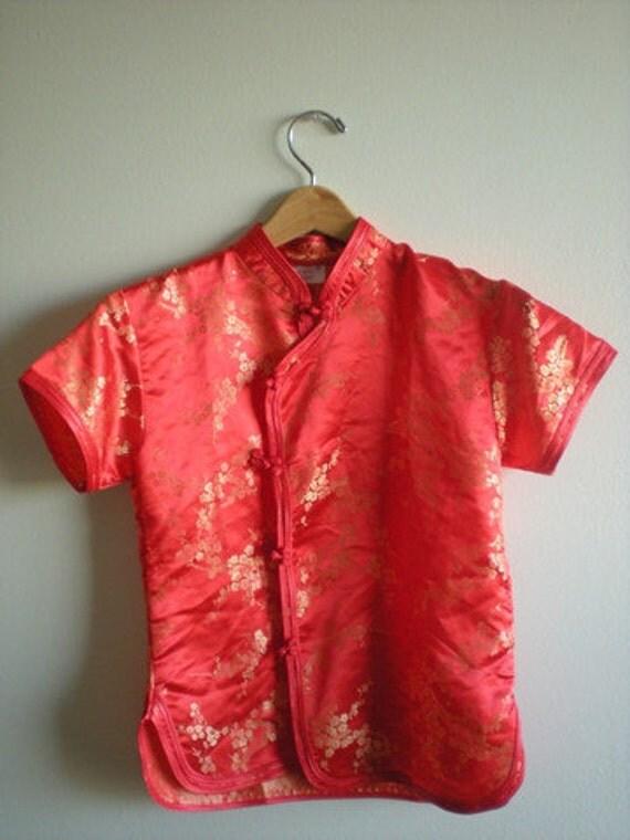 Red and Gold CHEONGSAM Shirt