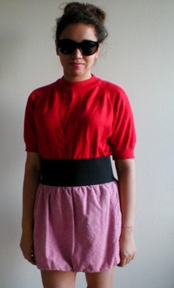 Red Mock Neck Knit SHORT SLEEVE SWEATER Top Zipper