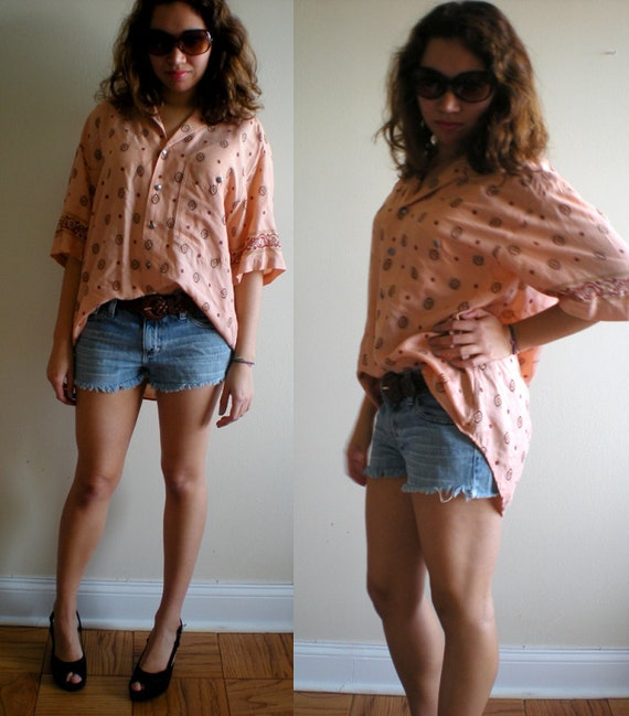 Peachy Flowy Print Oversized Shirt Removable Shoulder Pads