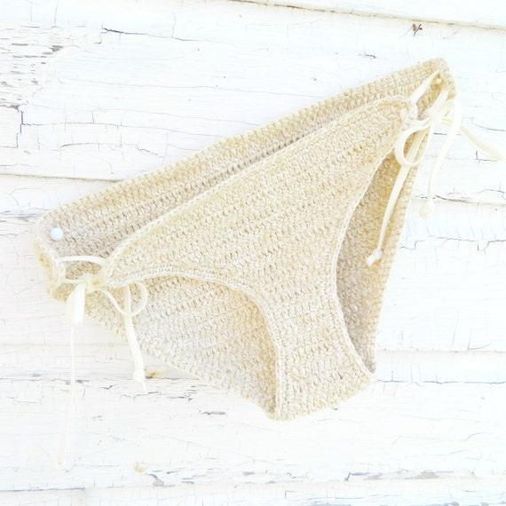 Recycled White Sand Crochet Low Rise Bikini Bottom