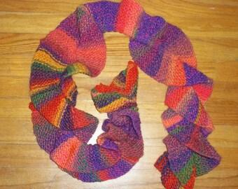 Knit scarf - Fun Colorful Ruffle Scarf (SC7)