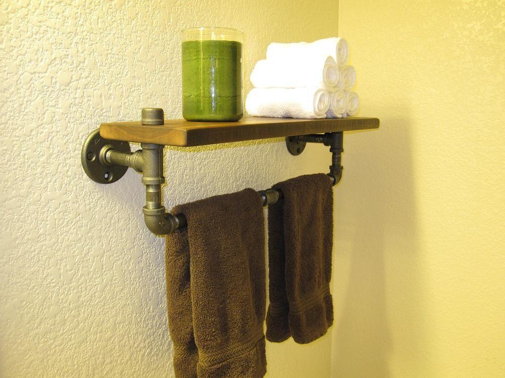 towel rack pipe shelf. Black Bedroom Furniture Sets. Home Design Ideas