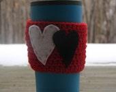 Coffee Cup Sleeve Cozy with Felt Hearts