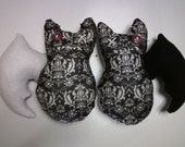 Vintage Style Handsewn Felted Bat Couple Black and White Pattern