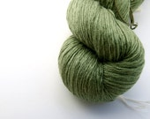 On sale: Silk & angora laceweight yarn, leaf green, reclaimed, 50g/640m