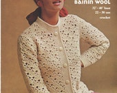 Vintage 1960s crochet pattern leaflet, women's jacket or cardigan in bainin wool, Mahonys Blarney
