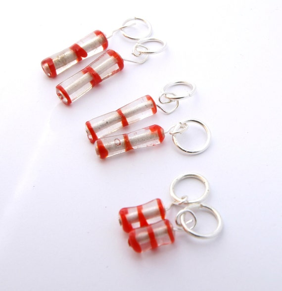 Glass bead stitch markers, orange & white with silver findings - handmade, recycled and beautiful. Set of 6.