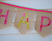 Pink & Green Burlap Happy Birthday Banner