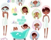 Cute Afro Girl Spa Clip Art Set