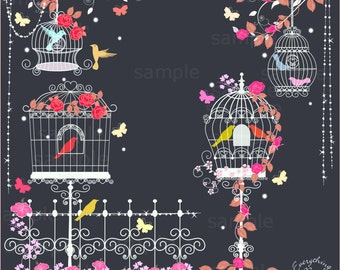 Elegant Bird Cages Clip Art Set