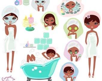 Cute Afro Girl Spa Clip Art Set