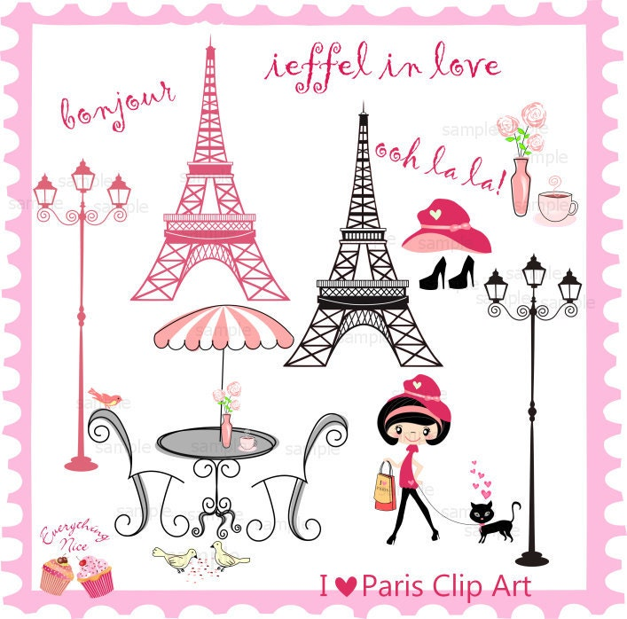 I Love Paris Wallpaper cartoon : I love Paris clip Art Set