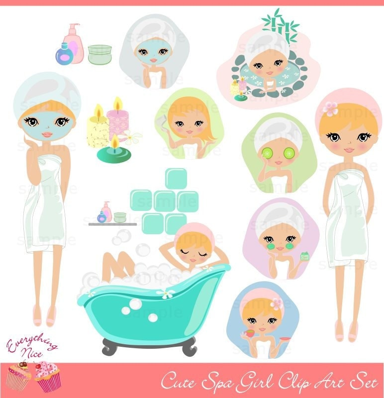 Clip Art Spa Clip Art spa clip art etsy cute blonde girl set
