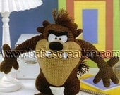 40% SALE Tazmanian Devil Amigurumi Pattern Cartoon Crochet Pattern : INSTANT DOWNLOAD
