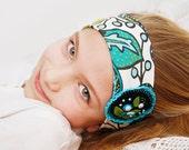 Set of fabric headband and 2 wristcuffs Floral headband bracelet set Girls hair accessory Winter snow embroidered headband