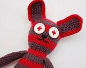 Crochet rabbit  Stuffed toy Baby rattle Striped Amigurumi animal holiday Gift idea Organic handmade toy