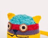 Crochet cat, baby organic toy,  rattle, baby shower gift, amigurumi toy Organic toy