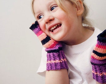 Sale 15% off Handknitted fingerless gloves for girls Striped pink purple Gloves for  girls Toddler girl's gloves