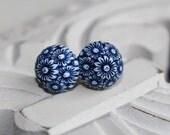 Vintage Bloom - Blue - Stud Earrings UK