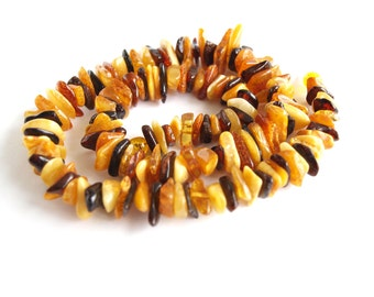 Baltic amber necklace. Multicolored amber.