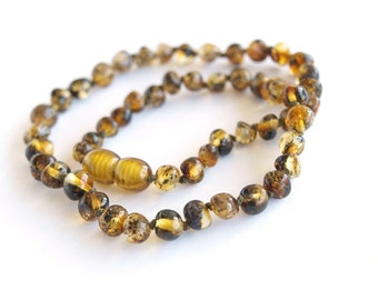 Baltic Amber Baby Teething Necklace. Olive color beads.