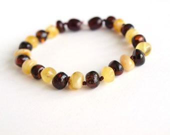 Elegant Baltic Amber Bracelet. Milky and Cognac amber beads.