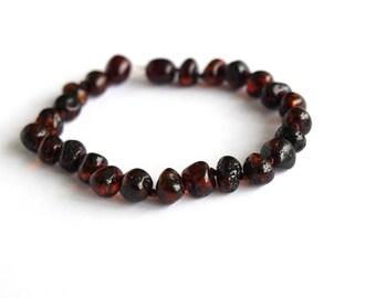 Elegant Baltic Amber Bracelet. Cognac color amber beads.