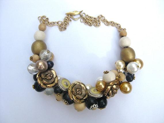 Cream and gold button bobble bib necklace