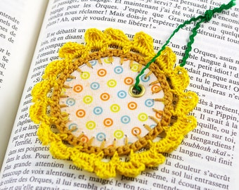 Sunflower bookmark yellow round bookmark crochet lace bookmark paper bookmark romantic label