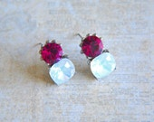Gorgeous Vintage Rhinestone Earrings - 80s - Pink and White Faux-Opal Faceted Crystal Stones - jewellery, jewelry, accessories