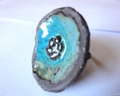 Ring, ceramic brown earthenware, adjustable and colourful