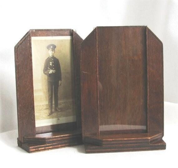 1940s photo frames pair in dark oak