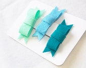 Bow Clips Trio (Sea Green, Baby Blue, and Turquoise)