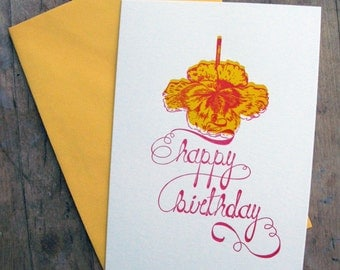 The pink ribbon birthday - Letterpressed card