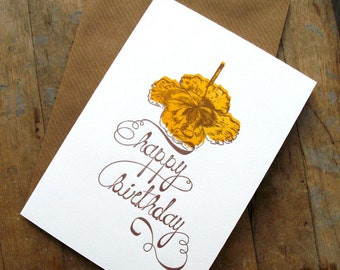 The brown ribbon birthday - Letterpressed card