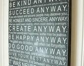 Subway Art- Mother Teresa Quote Wooden