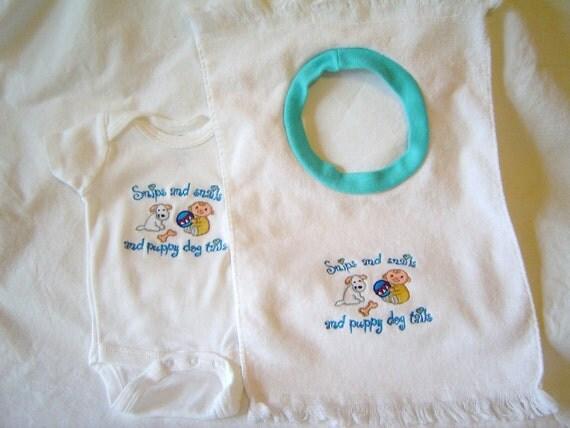Onesie and Bib Set  Snips and Snails-boy Newborn