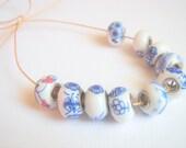 10 Porcelain Large Hole Beads