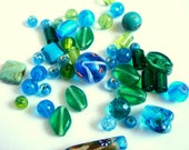 45 Mixed Glass Lampwork Beads Green Glass Beads,Turquoise Glass Beads
