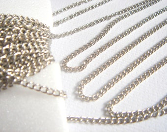12ft  Silver tone Chain 3x2 mm open links