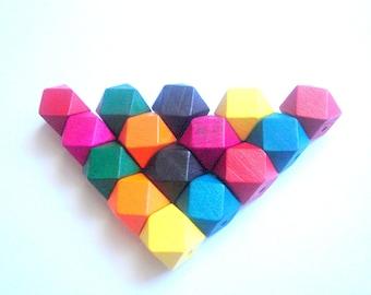 Geometric Mix Wood Beads -20mm Big Hole, Geometric Jewelry,Do it Yourself Geometric necklace