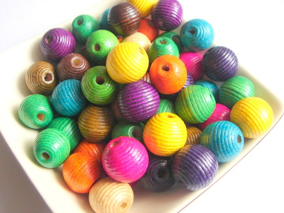 Neon Wood Beads,20 Color Wood Beads -20mm.
