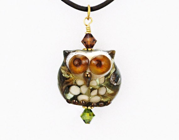 Owl Bead Pendant, Lampwork Glass Owl Necklace, Christmas Owl Necklace, Christmas Owl Jewelry