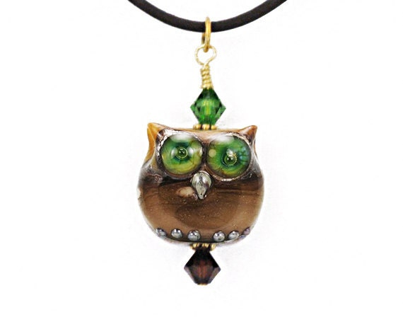 Owl bead pendant necklace lampwork glass unique truly OOAK rare in United States best on the net FREE SHIPPING