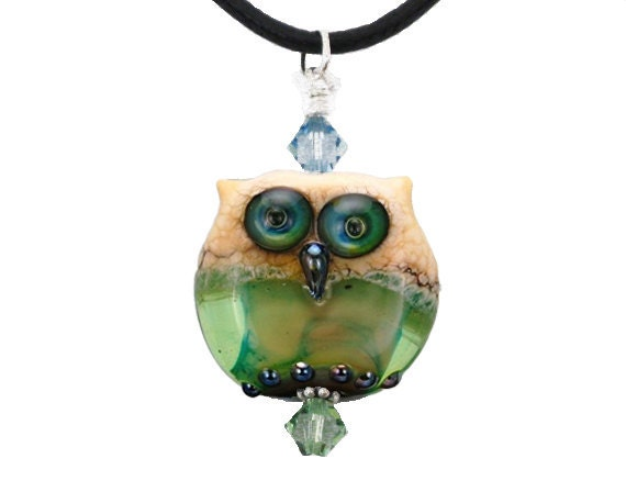 Owl Bead Pendant, Lampwork Glass Owl Necklace, Christmas Owl Necklace, Christmas Owl Jewelry