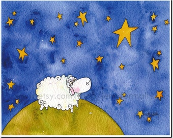 "Sheep with Stars ""Make A Wish"" 8x10 art print"